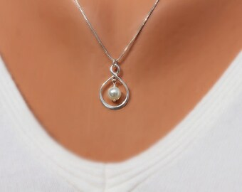 Mother of the Bride Gift - Swarovski Pearl Infinity Necklace and Chain - Sterling Silver