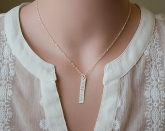 Silver Bar Necklace | Personalized Nameplate Necklace | Monogram Vertical Bar | Monogram Nameplate Rectangle | Stamped Initial Word