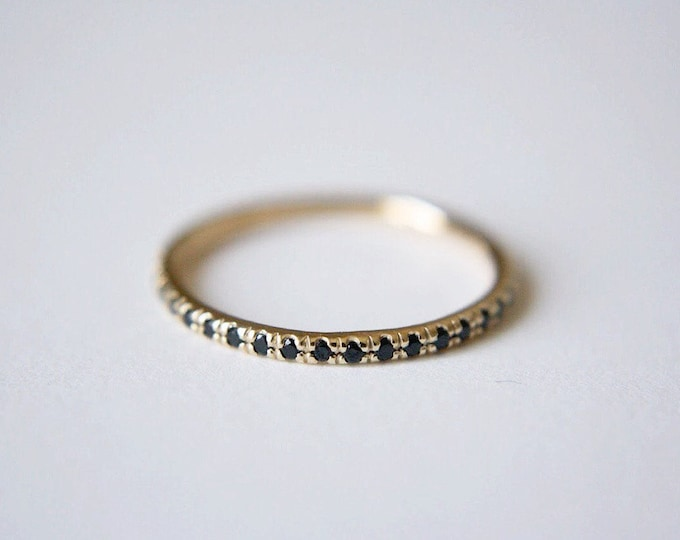 Black Spinel Pave Wedding Band
