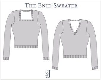 Enid Fitted Sweatshirt Sweater Ladies PDF Sewing Pattern Multi Size 6 to 24