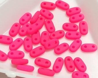 "2 Hole Bar Czech Glass Beads, 3x6MM, 3"" Tube, Approx 10 grams - Neon Pink"