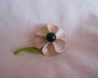Vintage pink painted metal and black bead flower pin