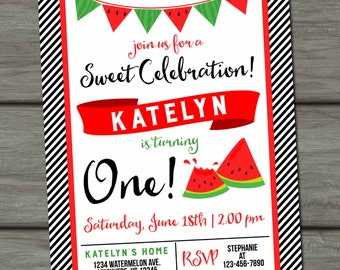 Watermelon Birthday Invitation, Summer Birthday Invitation, Watermelon Party, Watermelon Invitation, Watermelon Birthday Party, Watermelons