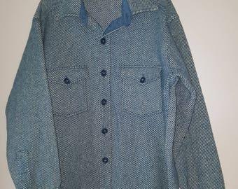 Vintage Mens Wool L. L. Bean Shirt / Wool Shirt / Mens Wool Shirt /Blue Wool Shirt