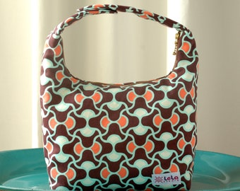 Women Lunch Bag, Insulated Lunch Bag, Small Purse, Amy Butler August Fields Collection in Knot Garden Pattern, Shades of Brown Orange