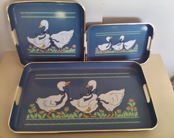 Vintage Lacquerware 3 Piece Nesting Serving Trays, Kitchen Dining and Serving, Kitchen Decor, Country Kitchen