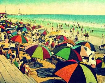 Unique Coastal Art for Beach Houses, Colorful Vintage Beach Art,  Beach Umbrellas Photograph, Unique Coastal Decor