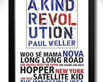 PAUL WELLER A Kind Revolution Album Limited Edition Unframed A4 Art Print with Song Titles