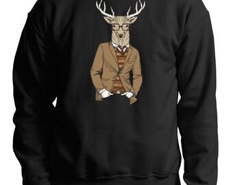 Deer Hoodie Christmas Deer Hipster Style sweatshirt Gift for Christmas