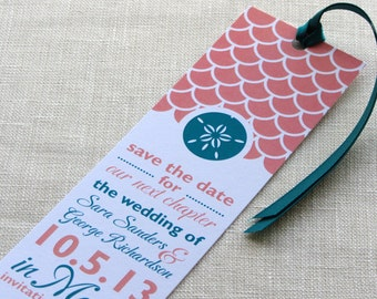 Sand Dollar Bookmark Save the Date - Wave Scallop Print with Typographic Layout