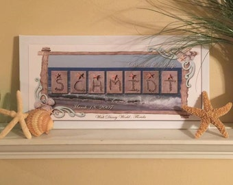 Seashells Personalized Family name print 20x10