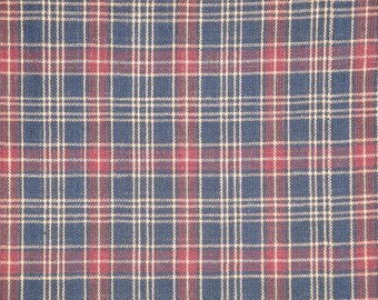 Homespun Material | Plaid Material | Navy Plaid Material | Old Glory Material | Woven Material | Cotton Sewing Material