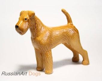 Irish Terrier dog ceramic figurine handmade statue, statuette