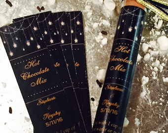 Hot Chocolate Wedding Favors, Navy Wedding Favors, Gold Wedding Favors, Starry Night Favors, Midnight Blue Favors
