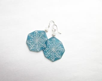 Winter Earrings- shrink plastic and sterling silver