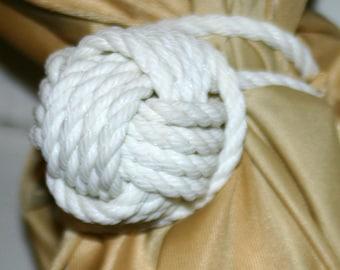 White Curtain Tieback Hand Knotted Monkeyfist Nautical Themed Nursery