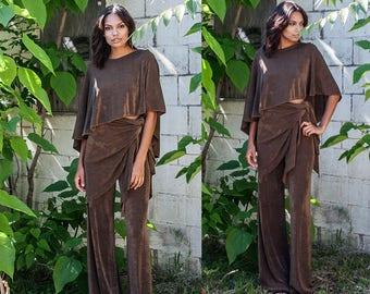 Composite Wrap Wide Leg High Waist Pants XS S M L XL XXL
