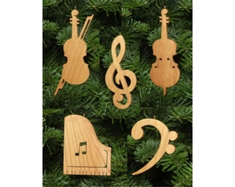 Chamber Music Christmas Ornament Set: Piano, Violin, Cello, Treble clef, Bass clef