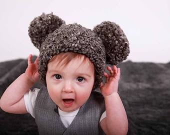 9 Sizes Pom Pom Hat Charcoal Gray Baby Hat Baby Girl Hat Baby Boy Hat Toddler Hat Toddler Girl Hat Toddler Boy Hat Womens Hat Fun Winter Hat