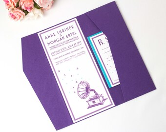 Vintage Wedding Invitation Cards, Purple Pocketfold, Music Themed, Old Fashioned Art Deco Invite, Record Player, Elegant Invitation, Antique