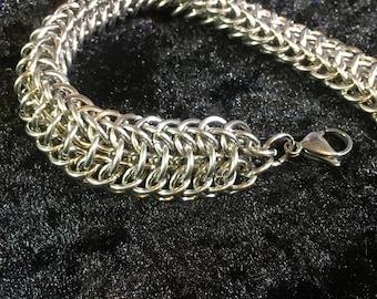 "Stainless Steel Chainmaille Bracelet - ""Dragonback"" Chainmaille Bracelet in Stainless Steel - Chunky Chainmaille Bracelet"