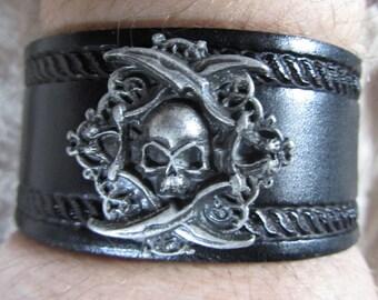 Leather Bracelet, Skull, Black Bracelet, Rope Design