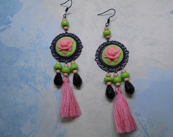 Lime green and pink Medallion cameo earrings