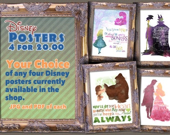 Disney Poster Pack - Choose your own posters! 4 for 20.00  / DIGITAL ONLY / Printable / Download
