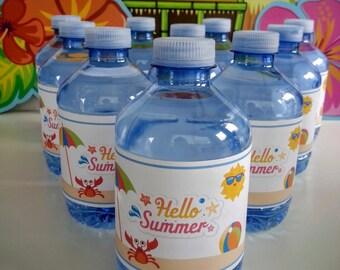 Summer Beach Party Water Bottle Label End of School Celebration Digital Download Luau