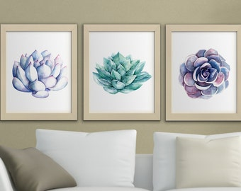 Succulents Printable Watercolor Wall Art, Set Of 3 Succulent Printables  Cactus Succulent Wall Decor, Printable Art Cacti Download Home Decor