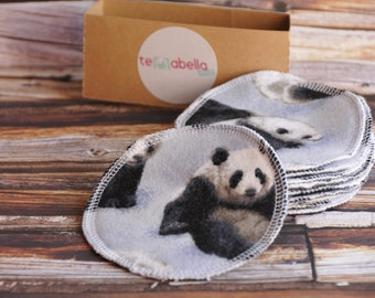 10 wipes cleansing reusable, round pads cleansing face, panda, flannel, cleansing pad, cotton, ecofriendly, eco