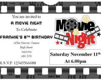 Personalised Movie Night Birthday invitations x 10 with envelopes