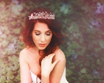 Rose quartz Wedding crown, Gold Bridal Crown Headpiece, Pearl Tiara, Pink wedding- Beatrice