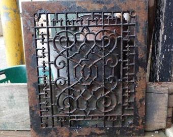 Antique Cast iron Grate Floor Wall Architectural salvage Nouveau Victorian Gothic Decorative 12 x 14