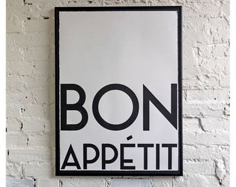 Bon Appetit monochrome screen print