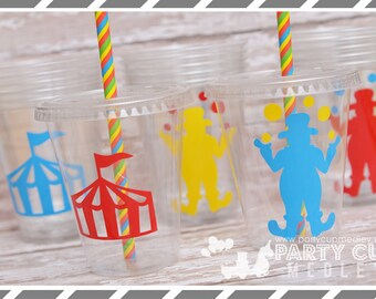 Circus Birthday Party, Set of 8 or 12 You Choose Party Cups or Favor Cups