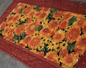 Brown Orange Yellow  Fall Floral 12  X 25 Table Runner Topper