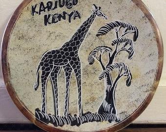 Kariubu Kenya Carved Soapstone Giraffe Plate