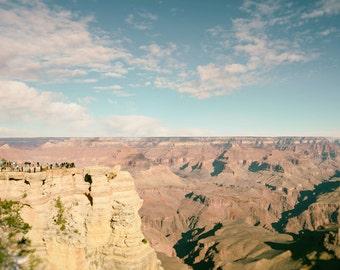 Grand Canyon Photo, Arizona Landscape Photography, Grand Canyon Print, Clouds, Southwest Decor, Nature Photography, blue, pink, Wall Art