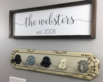 Family Name Sign Wood - Established Sign - Wedding Gift Last Name - Established Wedding Sign - Wedding Gift Sign-Personalized Last Name Sign