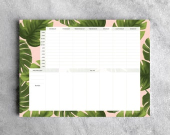Weekly Planner Desk Pad, Monstera | To Do List Notepad | Daily Planner, Goal Planner