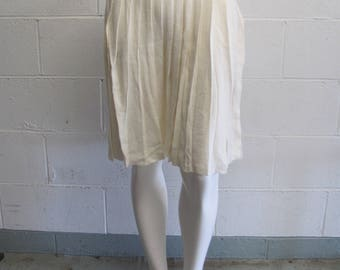 Vintage 80s 90s Beige Pleated High Waisted Sweater Skirt Warm Fall Winter Skirt
