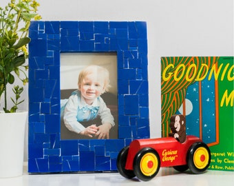 Cobalt Blue Picture Frame in Stained Glass Tiles – 5x7 Frame or 4x6 Frame