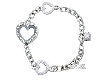 Floating Locket Heart Bracelet with Crystals • Magnetic • Holds Floating Charms - LOC32