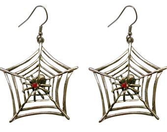 Spider on Web with Red Crystals Pewter Earrings #840