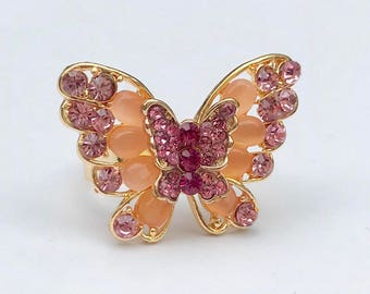 Jeweled Butterfly Ring in Pink and purple