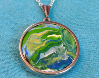 Art to go - unique pendant with handmade abstract Fluid Acrylic Painting with necklace - perfect gift for woman
