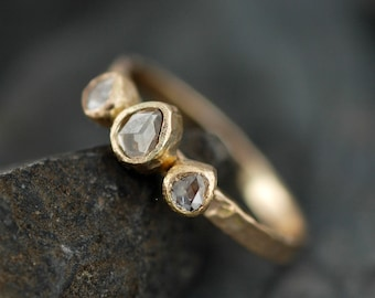 Rose Cut White Diamond Trio on Recycled Gold Ring- Custom Unique Engagement Ring