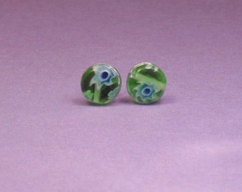 Green and Blue Round Millefiori Stud Earrings