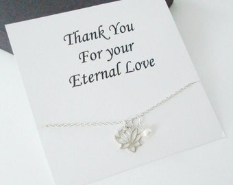 Lotus Charm with White Pearl Sterling Silver Necklace ~Personalized Jewelry Gift Card for Mom, Best Friend, Sister, Bridal Party, Graduation